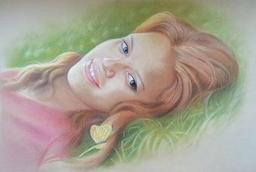 Настоящий портрет пастелью для любимой девушки в Ташкенте, просто и со вкусом!