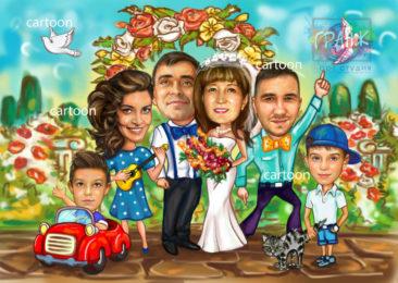 Шарж по фото на годовщину свадьбы на заказ в Ташкенте…